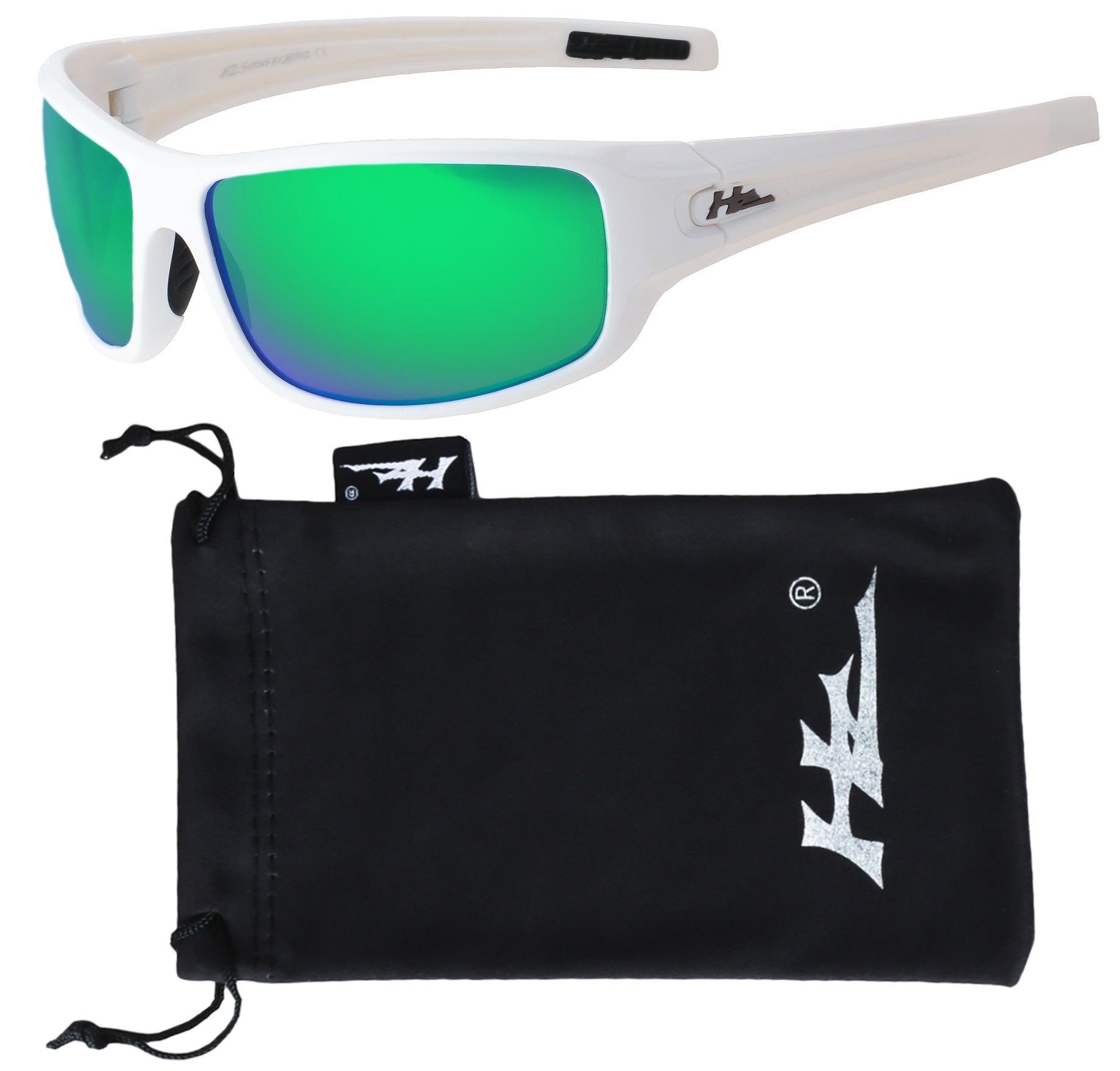 HZ Series Arkana - Premium Polarized Sunglasses by Hornz (Gloss White, Emerald Green Mirror)