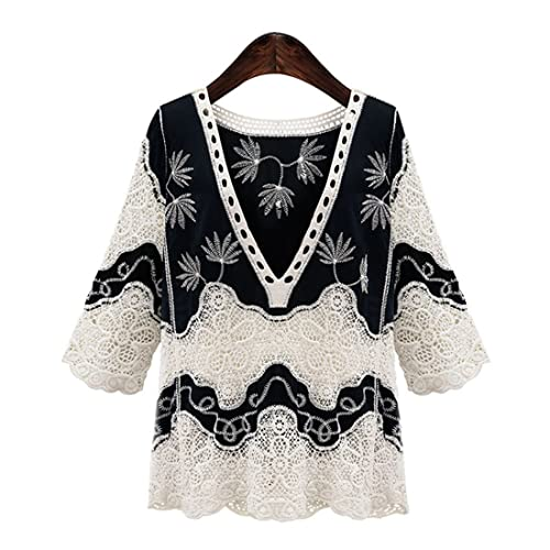 Haroty Las Mujeres Camisa de Encaje de Hueco Camiseta Bordada Manga 3/4 Cuello en V Elegant Suelto R...