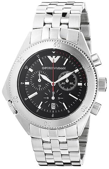 a15d89ed6abe Emporio Armani Men s AR0546 Silver Stainless-Steel Quartz Watch with Black  Dial  Emporio Armani  Amazon.ca  Watches