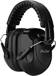 ProCase Noise Reduction Ear Muffs, NRR 28dB Shooters Hearing Protection Headphones Headset, Professional Noise Cancelling Ear Defenders for Construction Work Shooting Range Hunting -Black