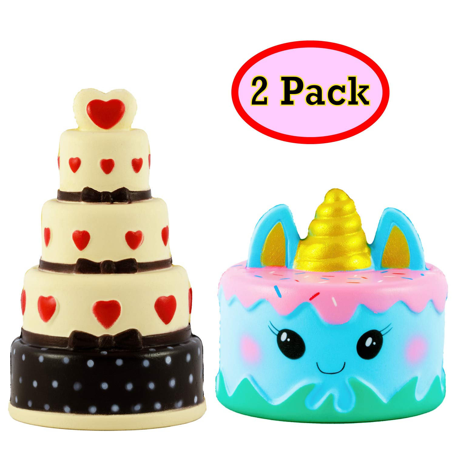 OzBSP Squishies Jumbo Slow Rising Cake Set Kawaii Cute Squishy - Premium Quality | Unicorn Mousse Cream Scented Narwhal Cake | 5 Layer Chocolate Heart Cake | Kids Stress Relief Squeeze Toy | 2 Pack