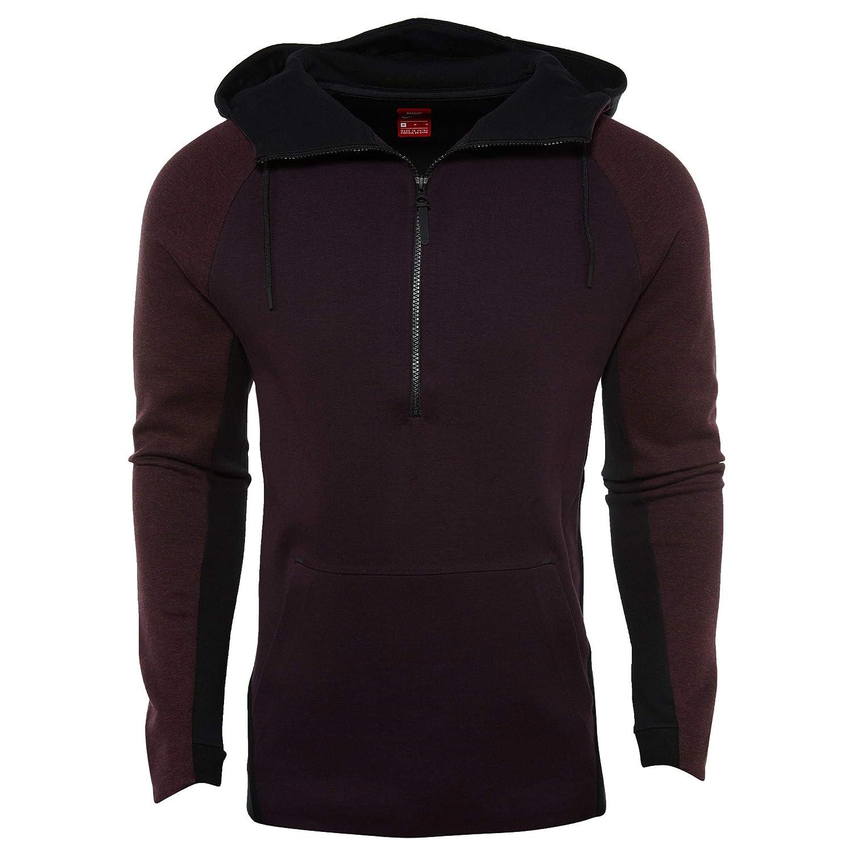Nike Mens Sportswear Tech Fleece Half-Zip Hoodie 884892 652 Port Wine Black