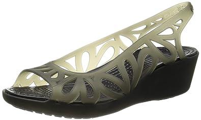 Crocs Women's 14937 Adrina III Mini Wedge Sandal,Black/Black,8 ...