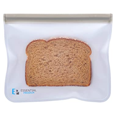 Essential Produx Reusuable Lunch Bags (5-Pack) Perfect for Snacks, Sandwich Baggies, Storage, Travel, Freezer Safe Extra Thick PEVA Material