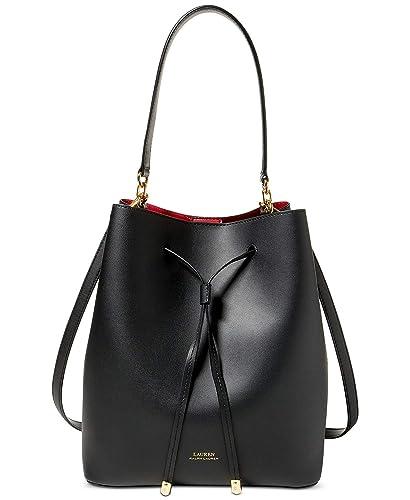 Lauren Ralph Lauren Dryden Debby Leather Drawstring (Black Red ... e2cd31cd619ed