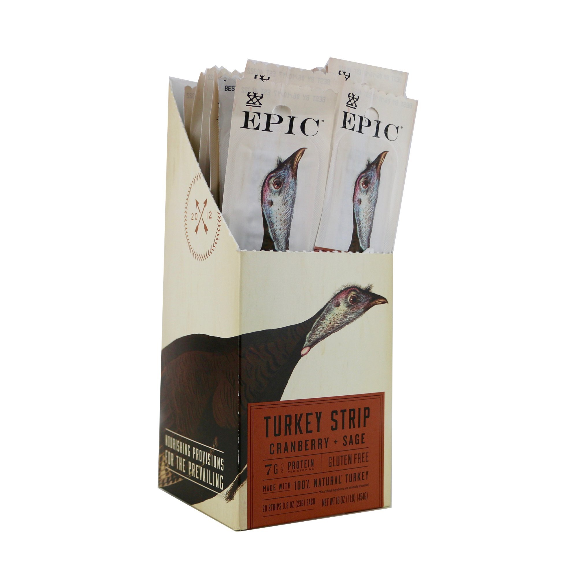 Epic 100% Natural Turkey Steak, Cranberry & Sage Strip, 0.8 Ounce (Pack Of 20)