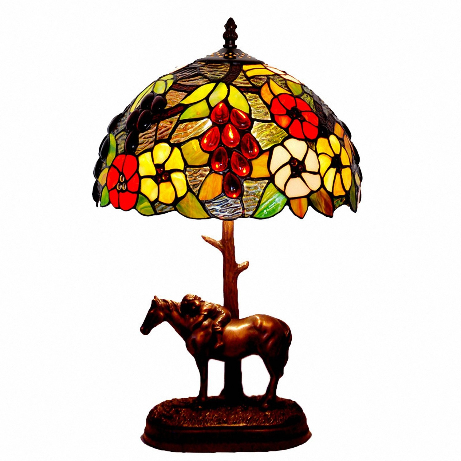 Table Lamps,Magcolor Tiffany Style Stained Glass Grapes and Flowers Table Lamp with 12 inches Handmade Lampshade and Child Horse Lamp Base Made of Resin,Suitable for Decorating Room