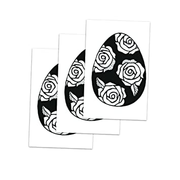 3b3dca106 Tattoo Moments Animal Temporary Tattoos - White Rose Egg (Set of 3 Tattoos)  -