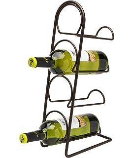 durable service pisa wine rack free standing 4 bottle storage metal holder holds 4 bottles antique bronze finish vertical slimline tower design