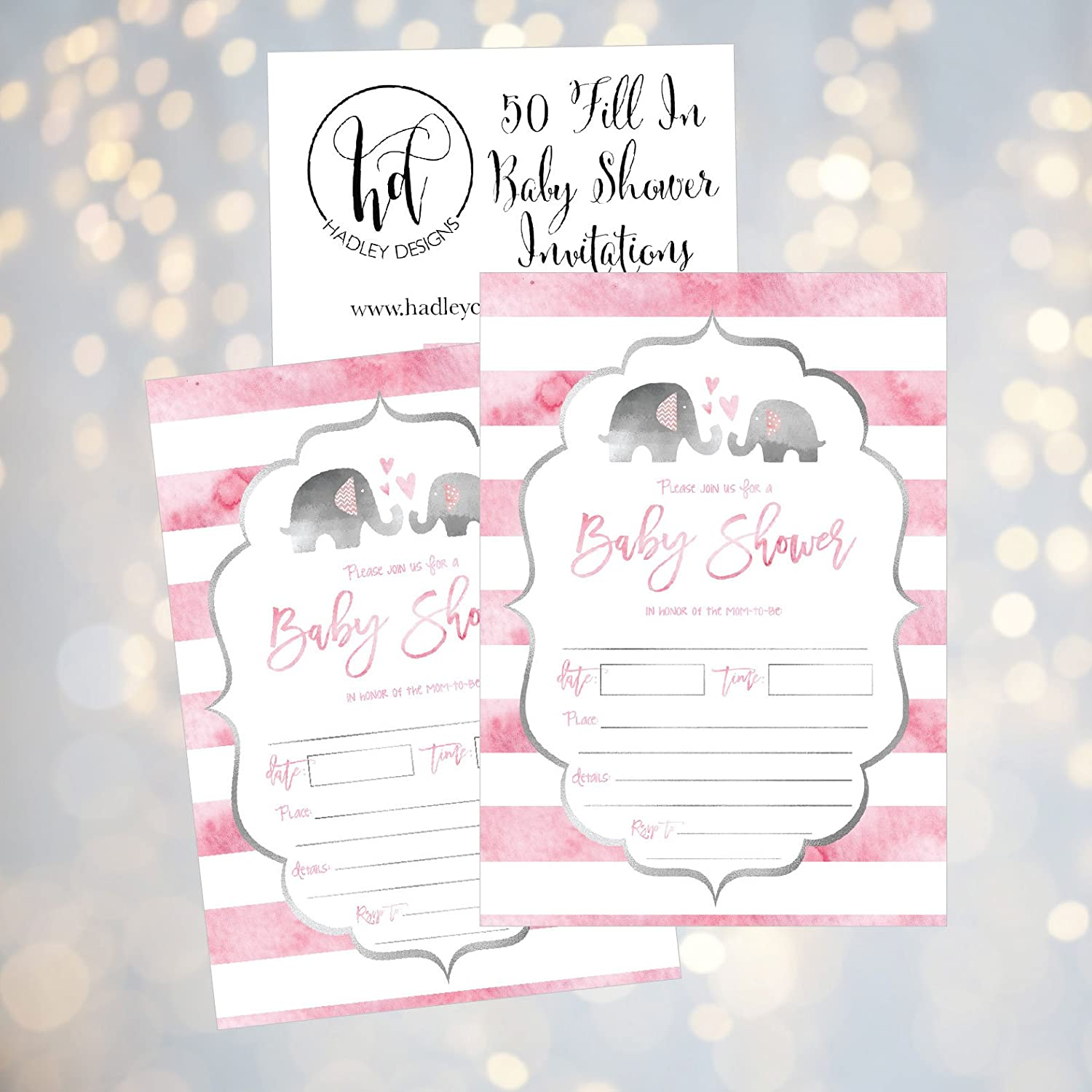 Amazon 50 Fill In Elephant Baby Shower Invitations Baby Shower