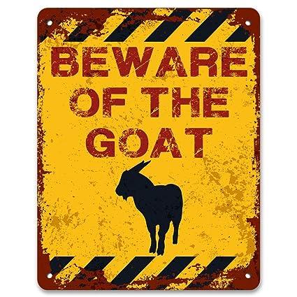"""Cuidado de la cabra – efecto Vintage Metal Sign Placa 8 """" ..."""