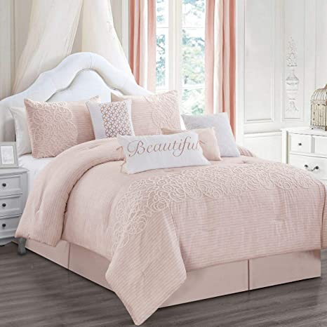 Amazon Com 8 Piece Teresa Blush Comforter Set Cal King Home Kitchen
