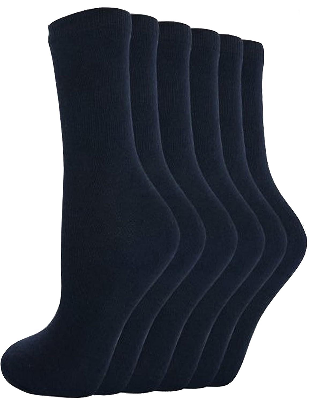 12 Pares Calcetines chico chica cortos Lisos De Algodón colegio R1 - Azul Marino, 12-3.5
