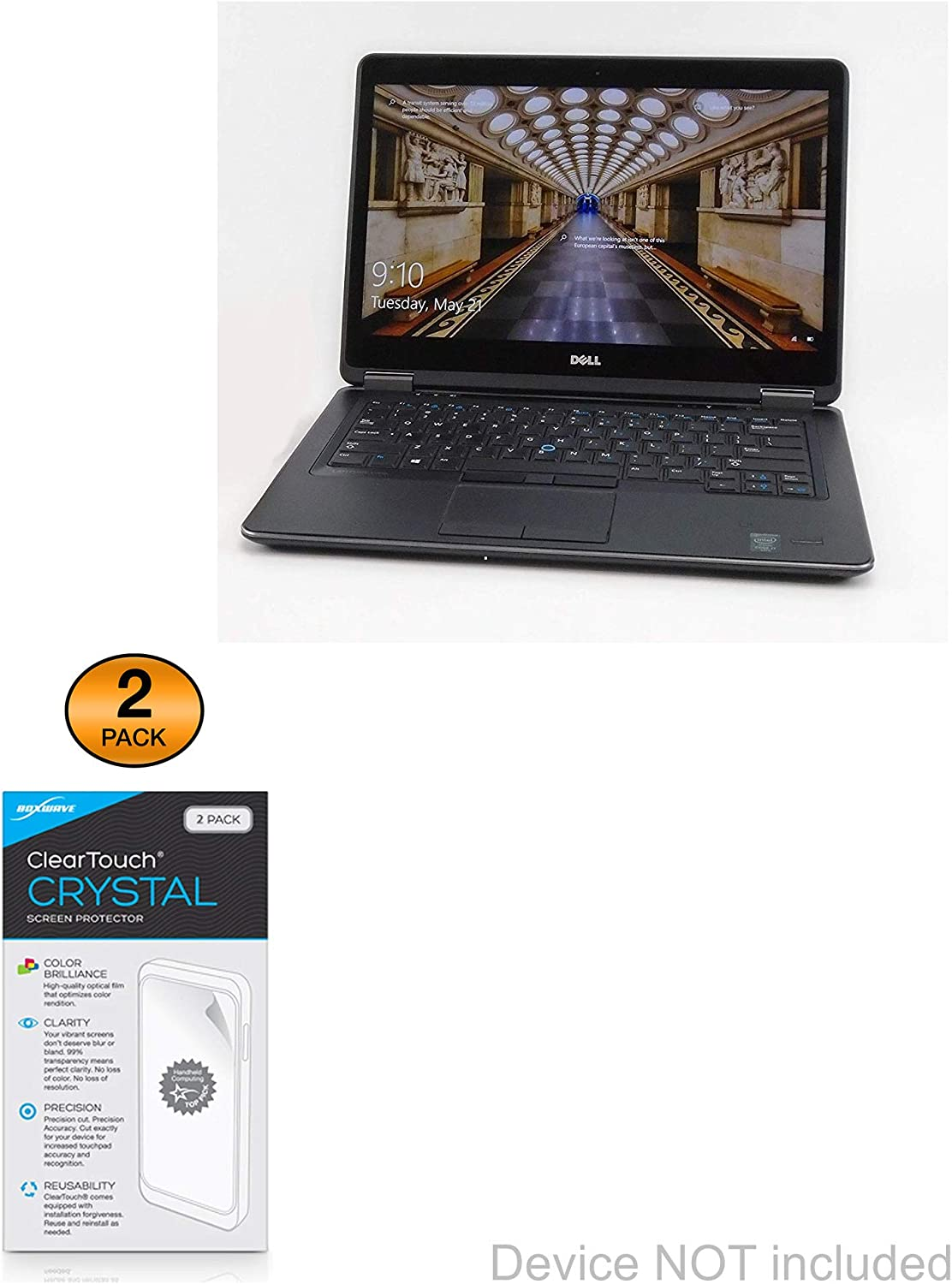 Dell E7440 Touchscreen (14 in) Screen Protector, BoxWave [ClearTouch Crystal (2-Pack)] HD Film Skin - Shields from Scratches for Dell E7440 Touchscreen (14 in)
