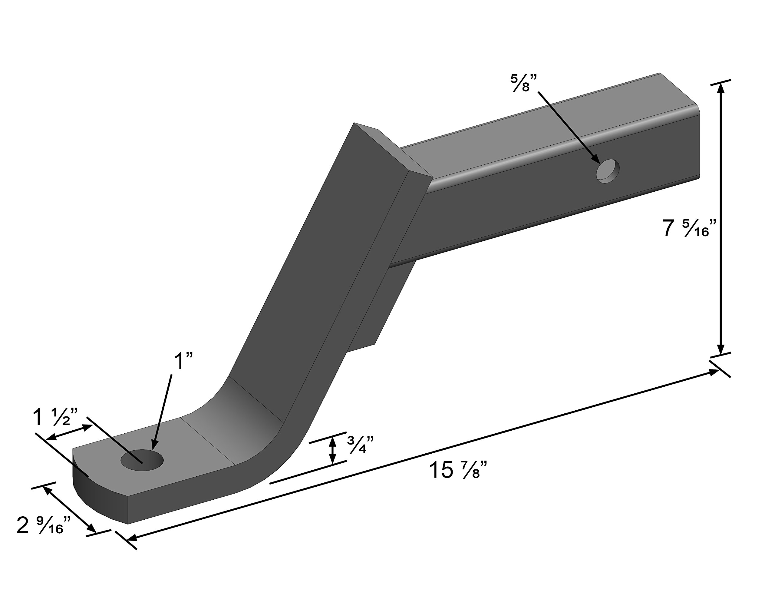 Quick Products QP-HS2807 Class III Trailer Ball Mount - 6'' Drop, 4'' Rise - 5000 lbs. (Gloss Black Powder-Coat Finish) by Quick Products (Image #2)