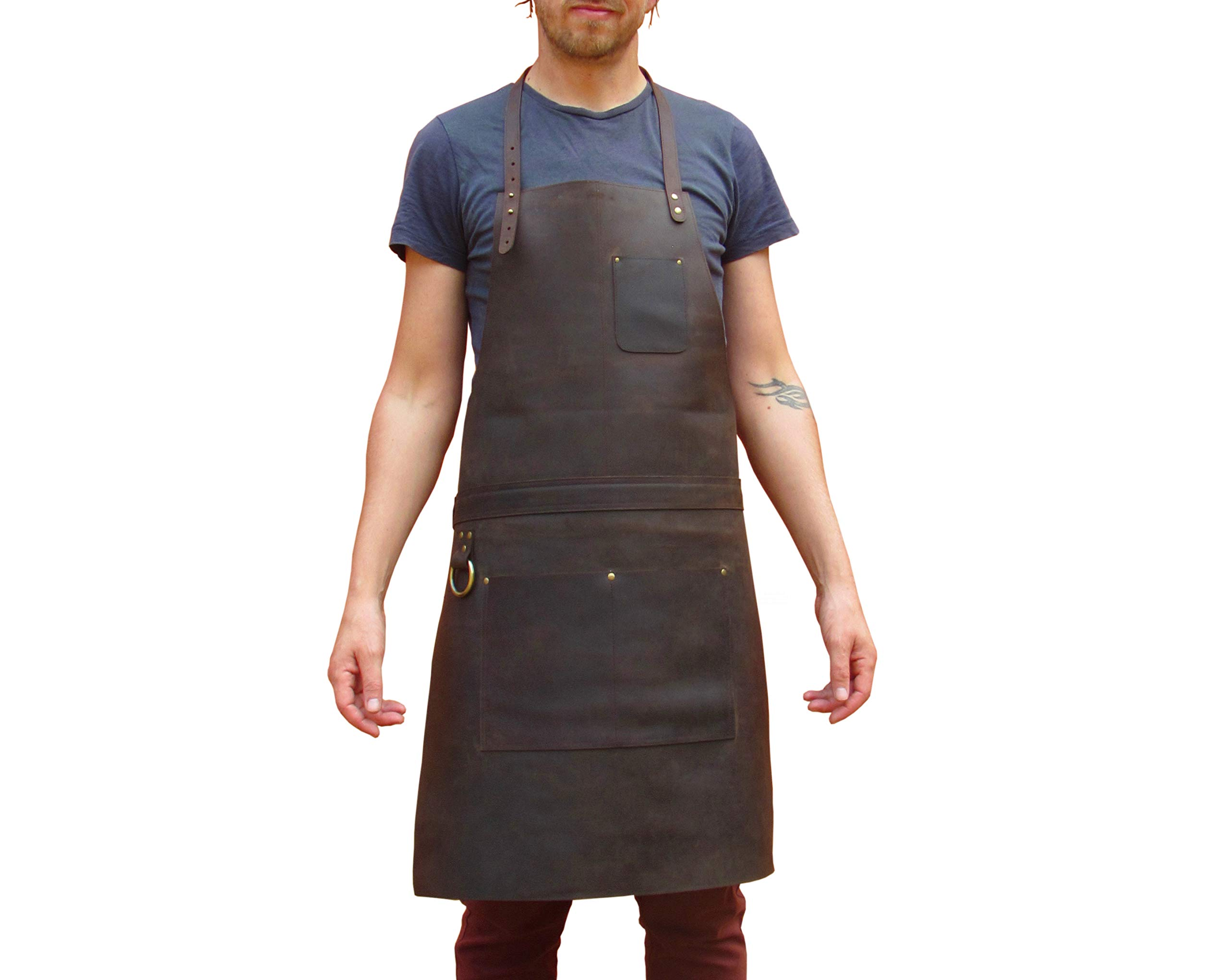 One Leaf Leather Work Apron (Chef, Butcher, Metalworker, Carpenter) - Tirel Deluxe (Brass Hardware) by Oneleaf