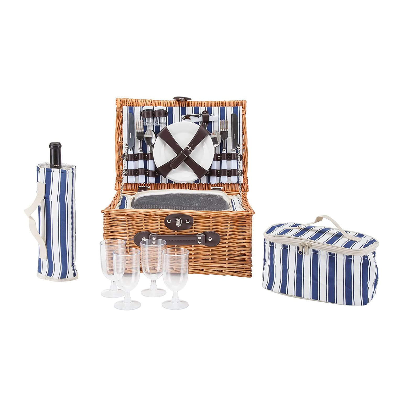 Alfresia 4 Person Picnic Basket insulated Set - Wicker Willow Outdoor Hamper