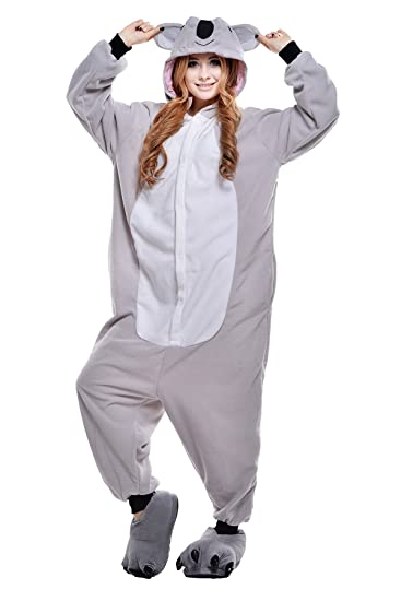 Newcosplay Adult Unisex Koala Onesie Pajama Costume (M, Grey Koala)