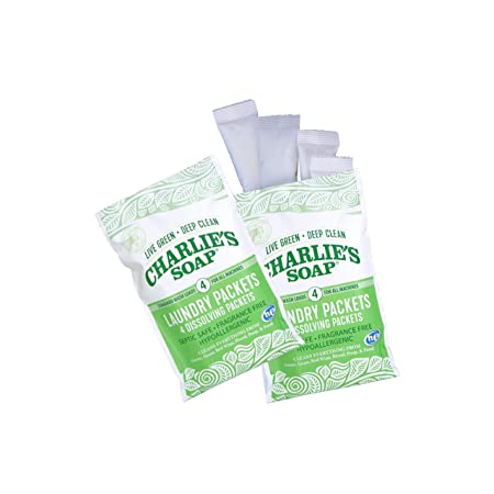 Charlie's Soap - Unscented Laundry Packets - Travel Size (2 Pack, 8 Total  Loads)