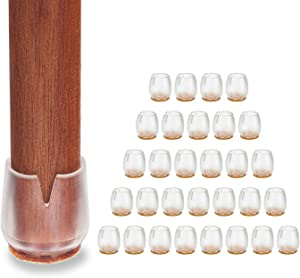 "Chair Leg Caps, Round Chair Leg Feet Wood Floor Protectors, Small (1/2"" to 5/8"")"