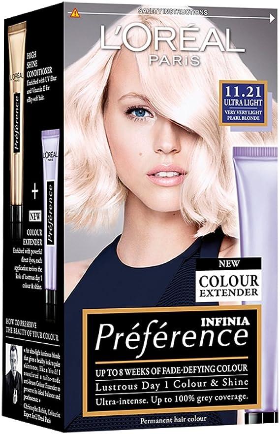 3 x Loreal preferencia Ultra luz 11.21 muy muy ligera Pearl Rubio Permanente Pelo Color Dye