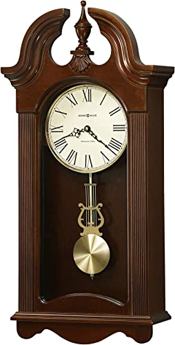 Howard Miller Malia Wall Clock 625-466 Cherry Wood with Quartz Single Chime Movement