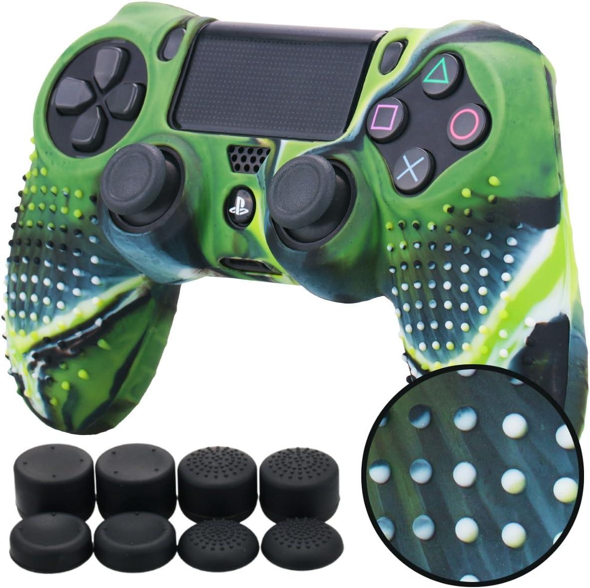 Pandaren® TACHONADO de silicona Fundas protectores de piel antideslizante para el PS4 Mando x 1 (camuflaje verde) + FPS PRO thumb grip x 8