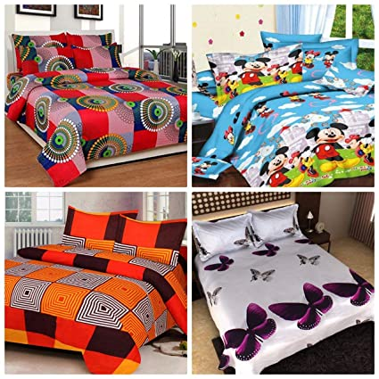 RS Home Furnishing Glace Cotton Combo Set of 4 Double Bedsheets with 8 Pillow Cover,Multicolor