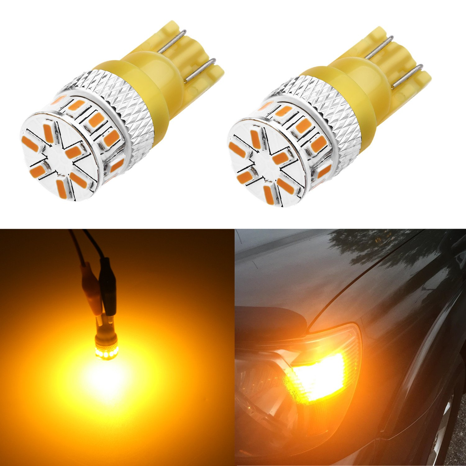 Alla Lighting Super Bright T10 194 LED Bulb High Power 3014 18-SMD 12V LED 194 168 2825 175 W5W Bulb Wedge for License Plate Interior Map Dome Trunk Cargo Side Marker Light, Amber Yellow (Set of 2)