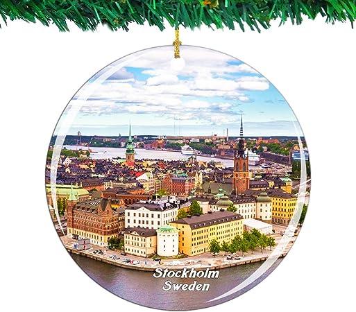 Weekino Svezia Stoccolma Citt/à Vecchia Ornamento di Natale Citt/à Viaggio Souvenir Collezione Doppia Faccia Porcellana 2,85 Pollici Decorazione ad Albero Appeso