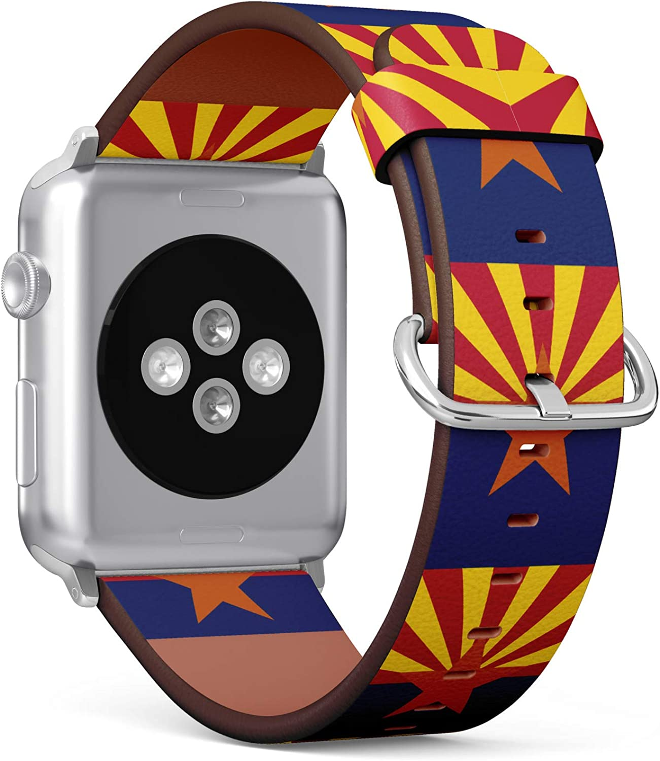 (State Flag of Arizona) Patterned Leather Wristband Strap for Apple Watch Series 4/3/2/1 gen,Replacement for iWatch 38mm / 40mm Bands