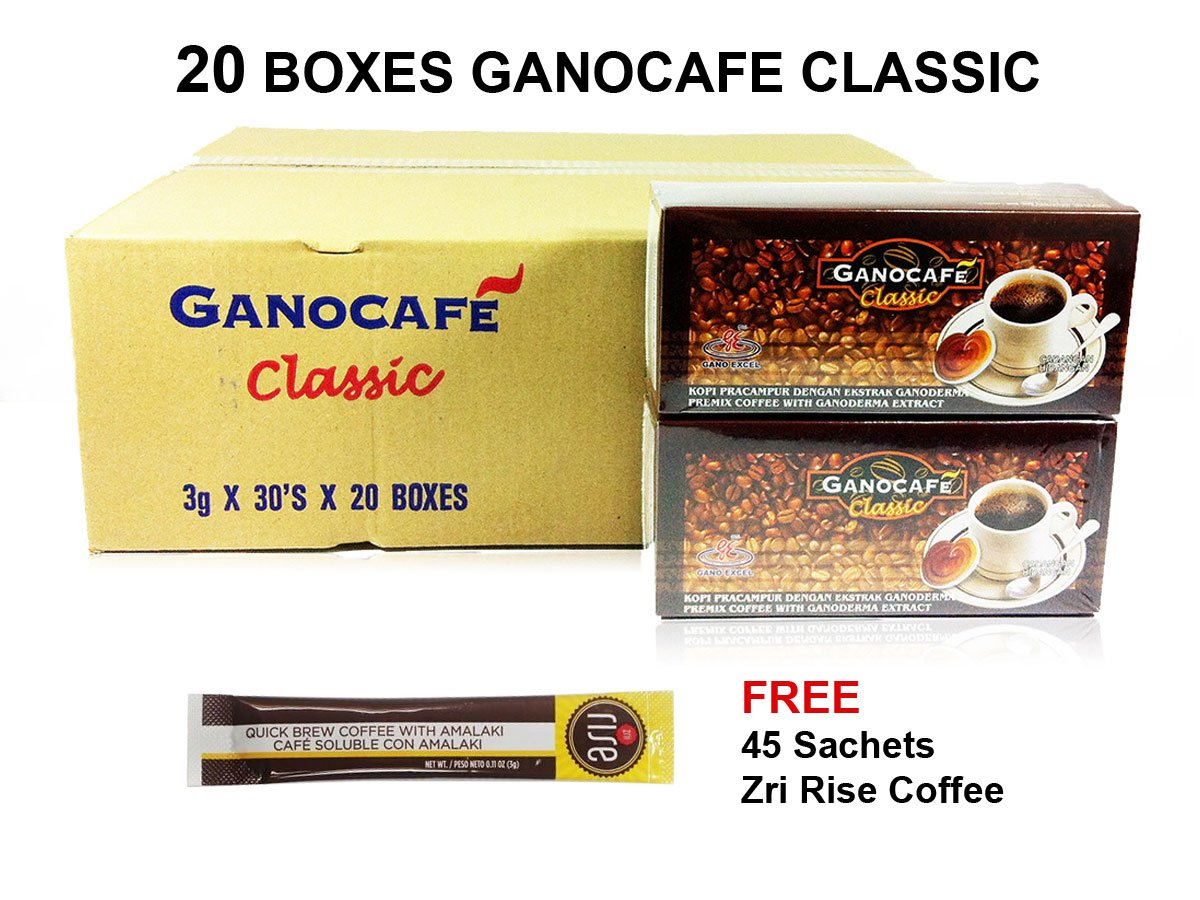 20 Boxes of Gano Café Classic Coffee 30 sachets/box, Instant Black Coffee Enriched with Ganoderma Lucidum Extract by Gano Café