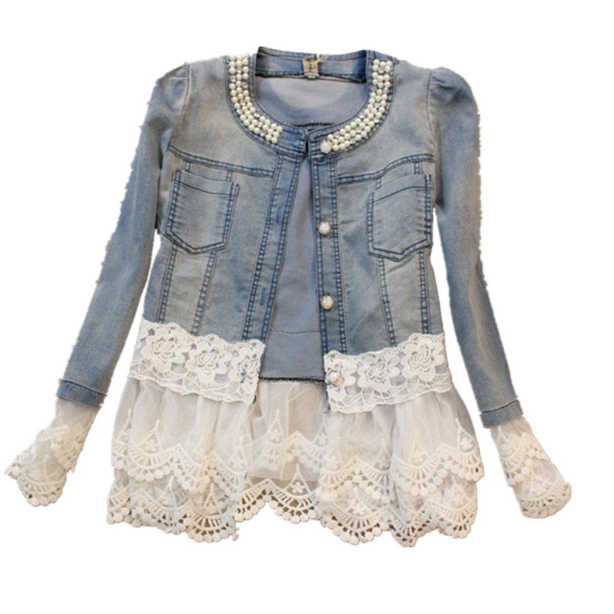 Ghope Women Denim Jacket Vintage Lace