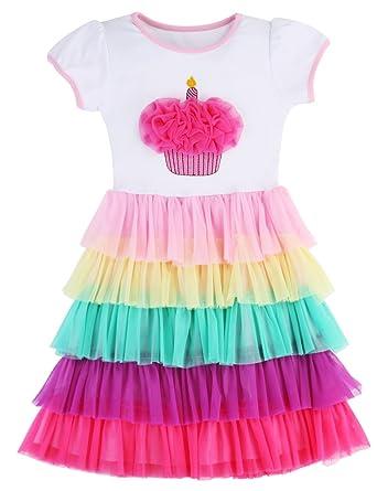 PrinceSasa Elegant Girls Clothes Unicorn Rainbow Party White Cupcake Short  Sleeve Spring Dress for Princess Toddler 7931719907ca