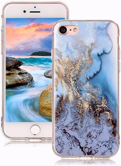 Cover iPhone 7/iPhone 8 Marmo Yunbaozi Design Marmo Custodia Mare Blu/Oro