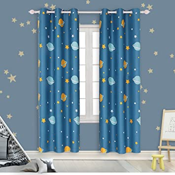 Beautiful Room Darkening Kids Curtains For Bedroom U2013Cute Planet Printed Curtains With  Twinkle Star Patterns,