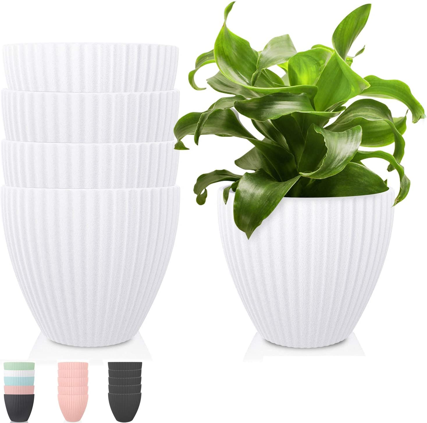 Plastic Planters Indoor Plant Pots - Thick Plastic Planter Pot Modern Decorative Large Gardening Pots for Plants, Flowers, Herbs, Cactus with Drainage Hole, 7 Inch Strip, White