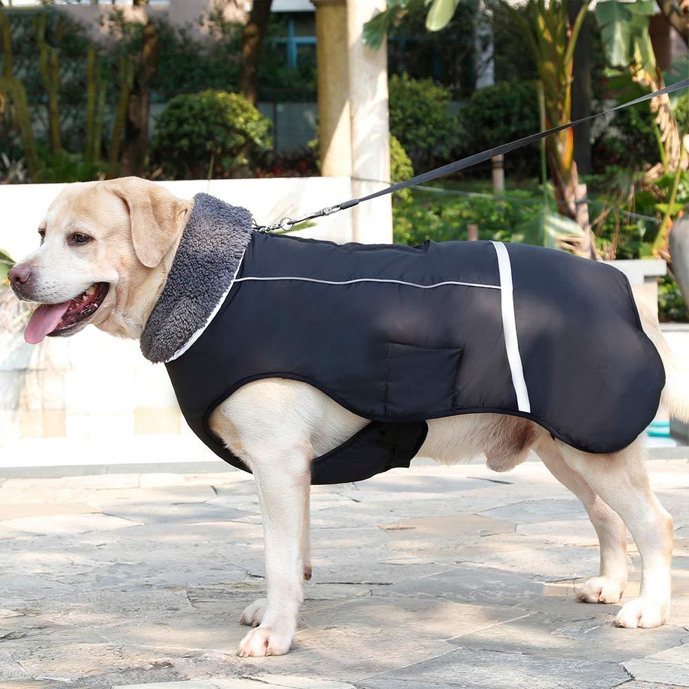 Petneces Dog Winter Coat Thick Warm Fleece Lined Jacket for Winter Outdoor Waterproof Reflective Vest