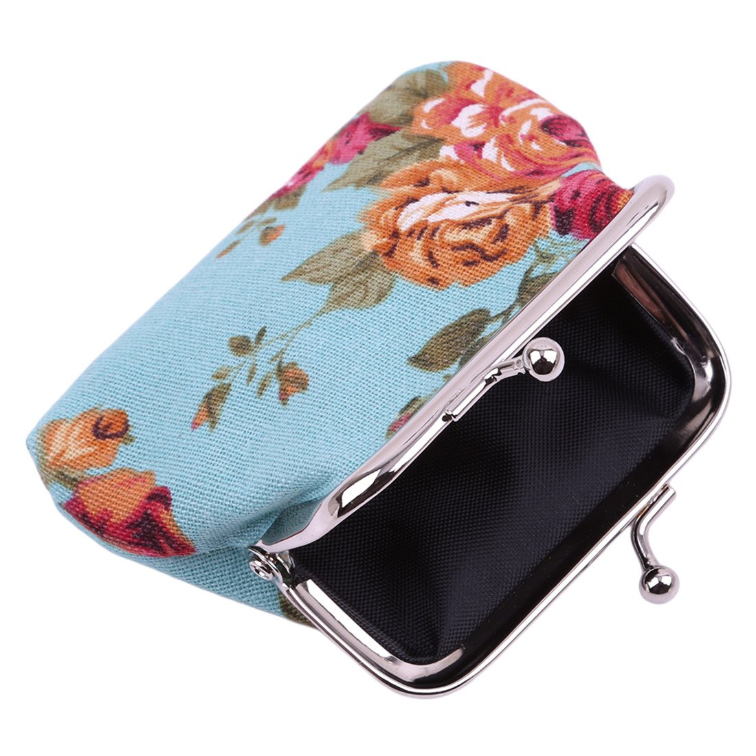 VWH Women Retro Small Wallet Flower Clutch Bag Good Flowers Gift Bags (blue) by VWH (Image #3)