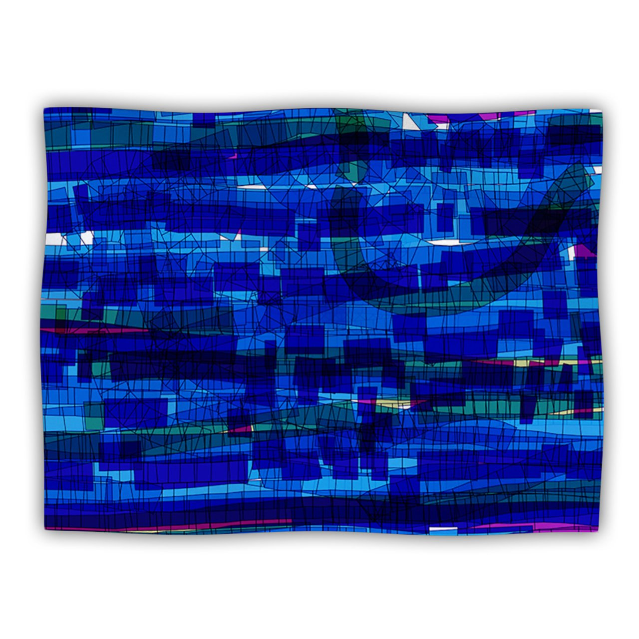 Kess InHouse Frederic Levy-Hadida Squares Traffic bluee  Dog Blanket, 60 by 50-Inch