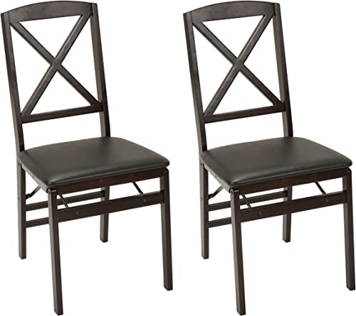 Cosco Wood Folding Chair with vinyl seat X-Back, 2 pack, Espresso
