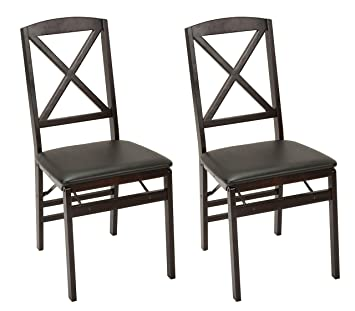 Strange Cosco Espresso Wood Folding Chair With Vinyl Seat X Back 2 Pack Creativecarmelina Interior Chair Design Creativecarmelinacom
