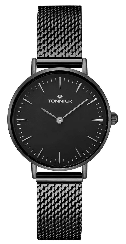 Tonnier Black Slim Stainless Steel Mesh Strap Mens Watch Quartz Mesh Watch for Women