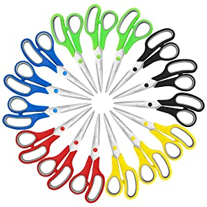 Scissors, VERONES 8 Inch Soft Comfort-Grip Handles & Stainless Steel Sharp Blades Perfect for Cutting Paper, Fabric Photos, More, 15-Pack