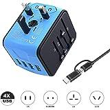 VGUARD Adaptateur de Voyage avec 4 USB Adaptateur Universel Pris de Courant pour UE/US/UK/AUS Utilisé dans Plus de 150 Pays Adaptateur Chargeur - Bleu