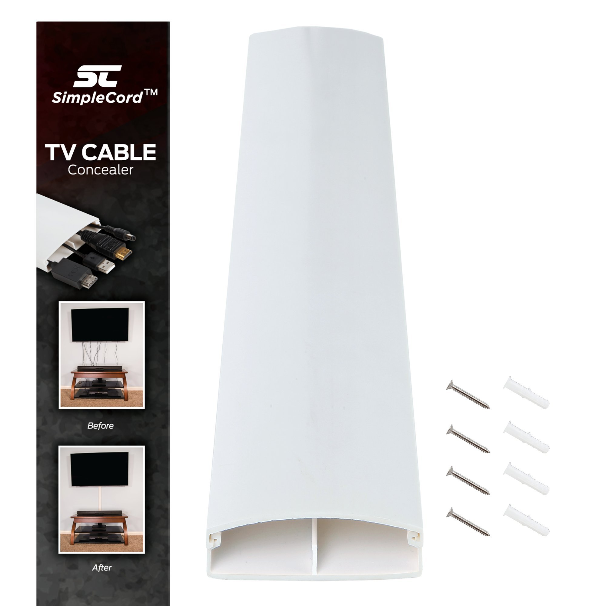 TV Cord Cover Conceals Cables, Cords, or Wires, 32 inch Wall Raceway – SimpleCord Dual Channel Cable Management System