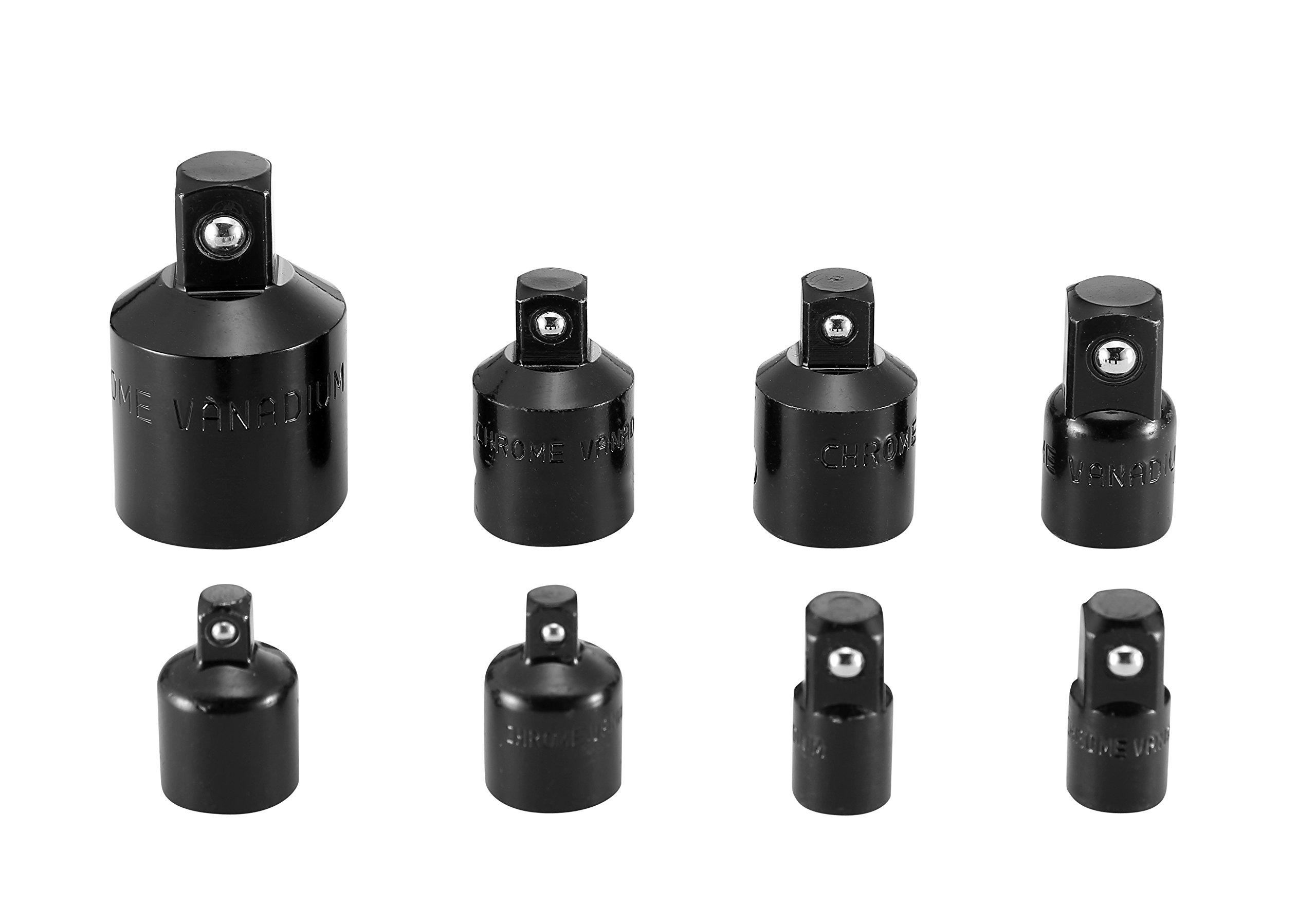 MacWork 8-Piece Impact Socket Adapter Set SAE Chrome Vanadium Steel Black Electro-Coated Surface
