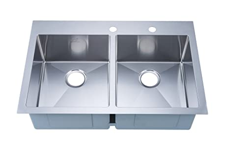 Stufurhome NW-3322DO Over Mount Stainless Steel 2-Hole Double Bowl Kitchen  Sink, Satin, 33\