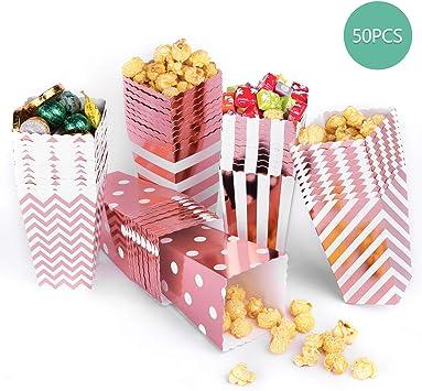 Bolsas de palomitas de maíz, 50 cajas de palomitas de maíz de cartón para aperitivos, palomitas de maíz y regalos, color oro rosa: Amazon.es: Bricolaje y herramientas