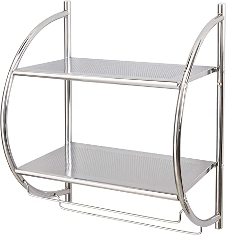 Amazon Com Organize It All 1753w B Wall Mount 2 Tier Chrome Bathroom Shelf With Towel Bars Metallic Home Kitchen